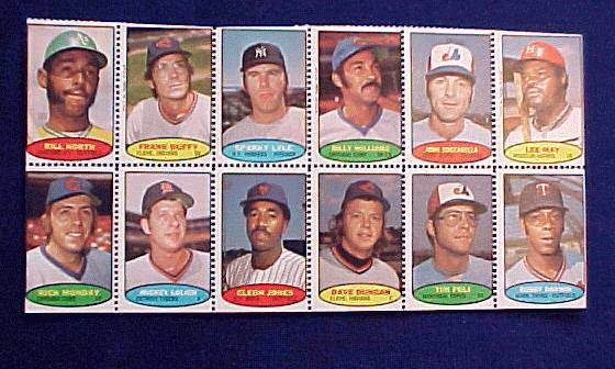 1974 Topps STAMPS SHEET #18 Sparky Lyle, Billy Williams, Lee May Baseball cards value