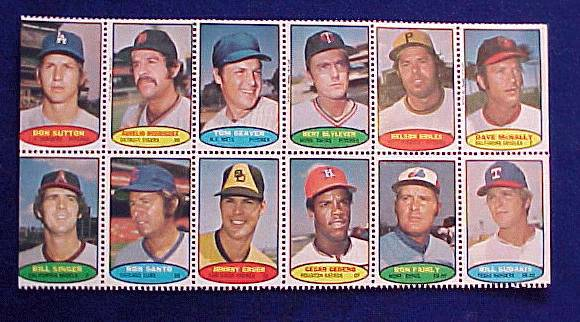 1974 Topps STAMPS SHEET #24 TOM SEAVER, Don Sutton, Ron Santo Baseball cards value