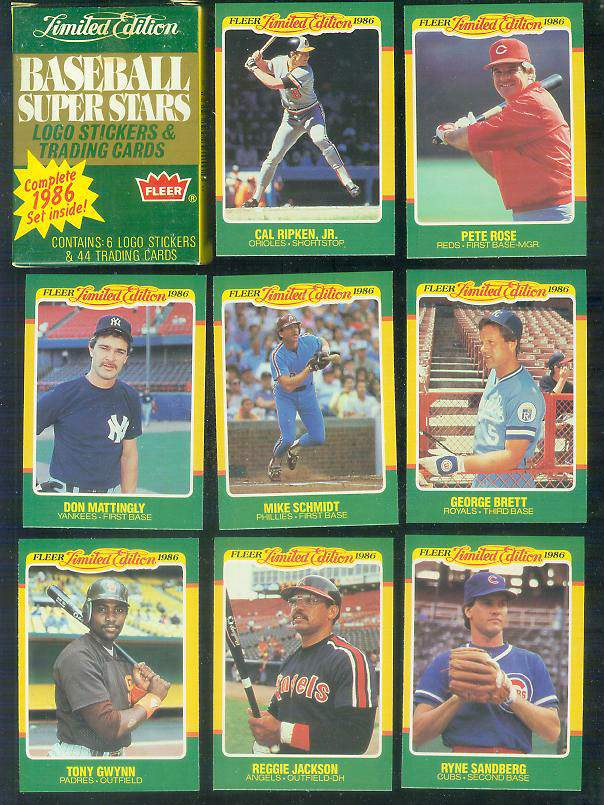 1986 Fleer 'LIMITED EDITION' - FACTORY BOXED SET (44 cards) Baseball cards value
