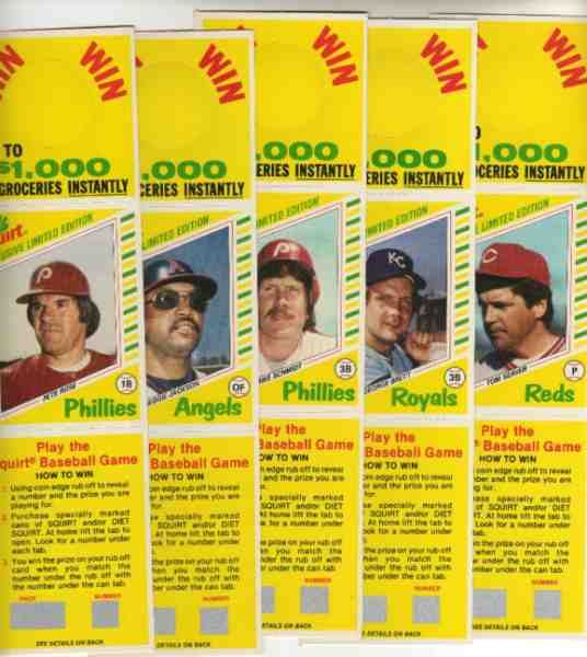 1982 Squirt   - COMPLETE PANEL SET (scratch off version) Baseball cards value