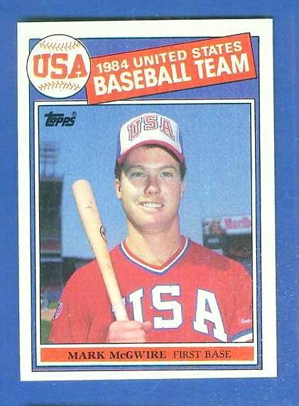 1985 Topps #401 Mark McGwire ROOKIE USA OLYMPIC TEAM Baseball cards value