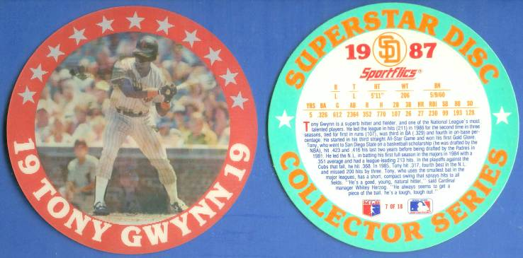 1987 Sportflics SUPERSTAR DISCS #.7 Tony Gwynn - Lot of (10) (Padres) Baseball cards value
