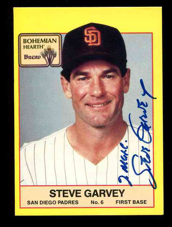 1987 Bohemian Hearth # 6 Steve Garvey AUTOGRAPHED (Padres) Baseball cards value