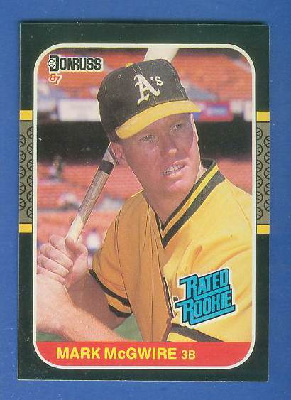 1987 Donruss #.46 Mark McGwire RATED ROOKIE (Var: card# top when flipped) Baseball cards value