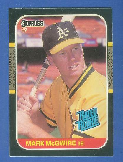 1987 Donruss #.46 Mark McGwire RATED ROOKIE (Var: card# top when fliiped) Baseball cards value