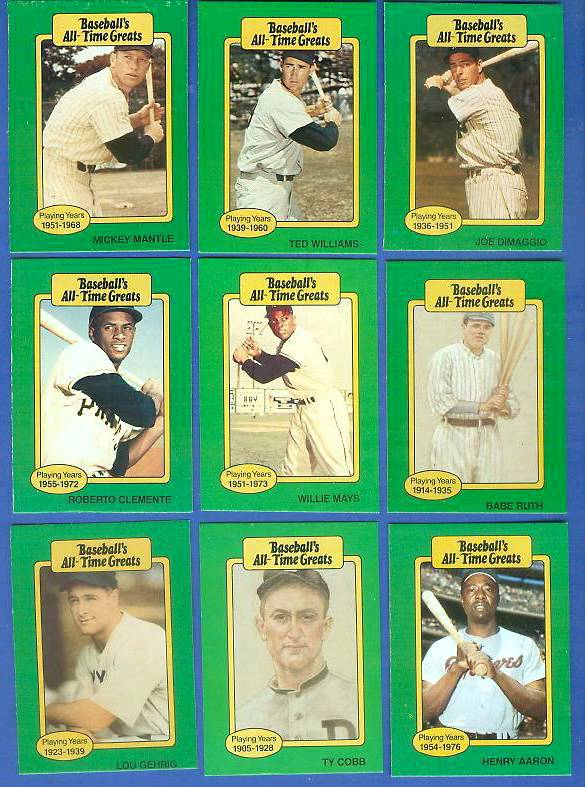 1987 Hygrade All Time Greats Baseball Cards Set Checklist Prices