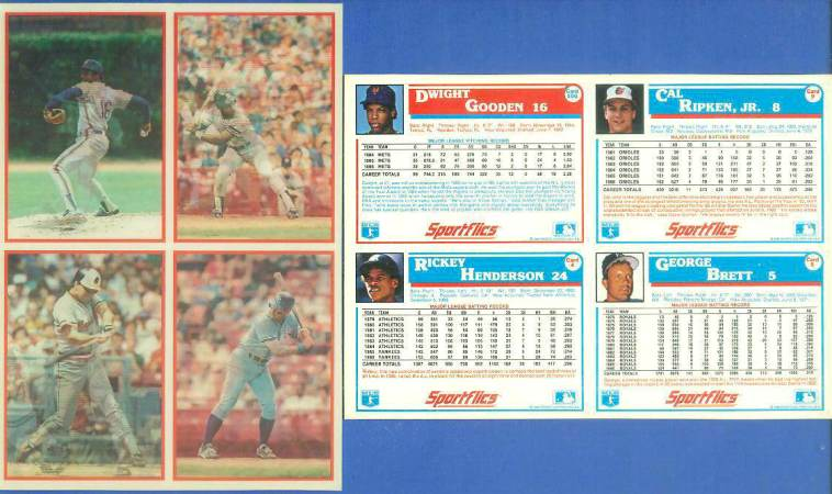 1987 Sportflics DEALER PANELS #4 CAL RIPKEN/George Brett/Rickey Henderson Baseball cards value