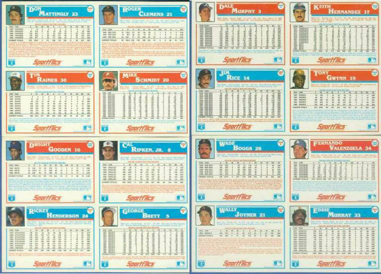 1987 Sportflics DEALER  PANELS - COMPLETE SET of 4 panels with MAJOR STARS! Baseball cards value