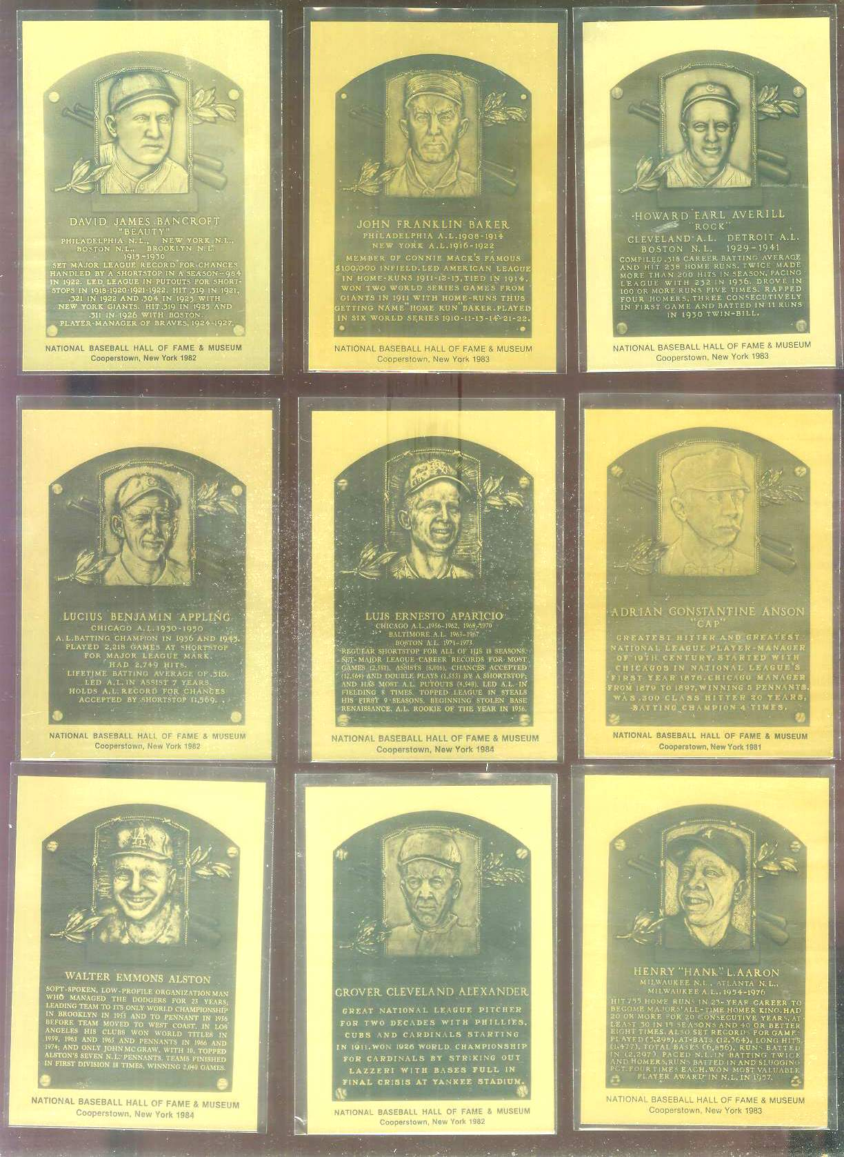 1981-89 Hall-of-Fame METAL PLAQUE #185 Luis Aparicio Baseball cards value