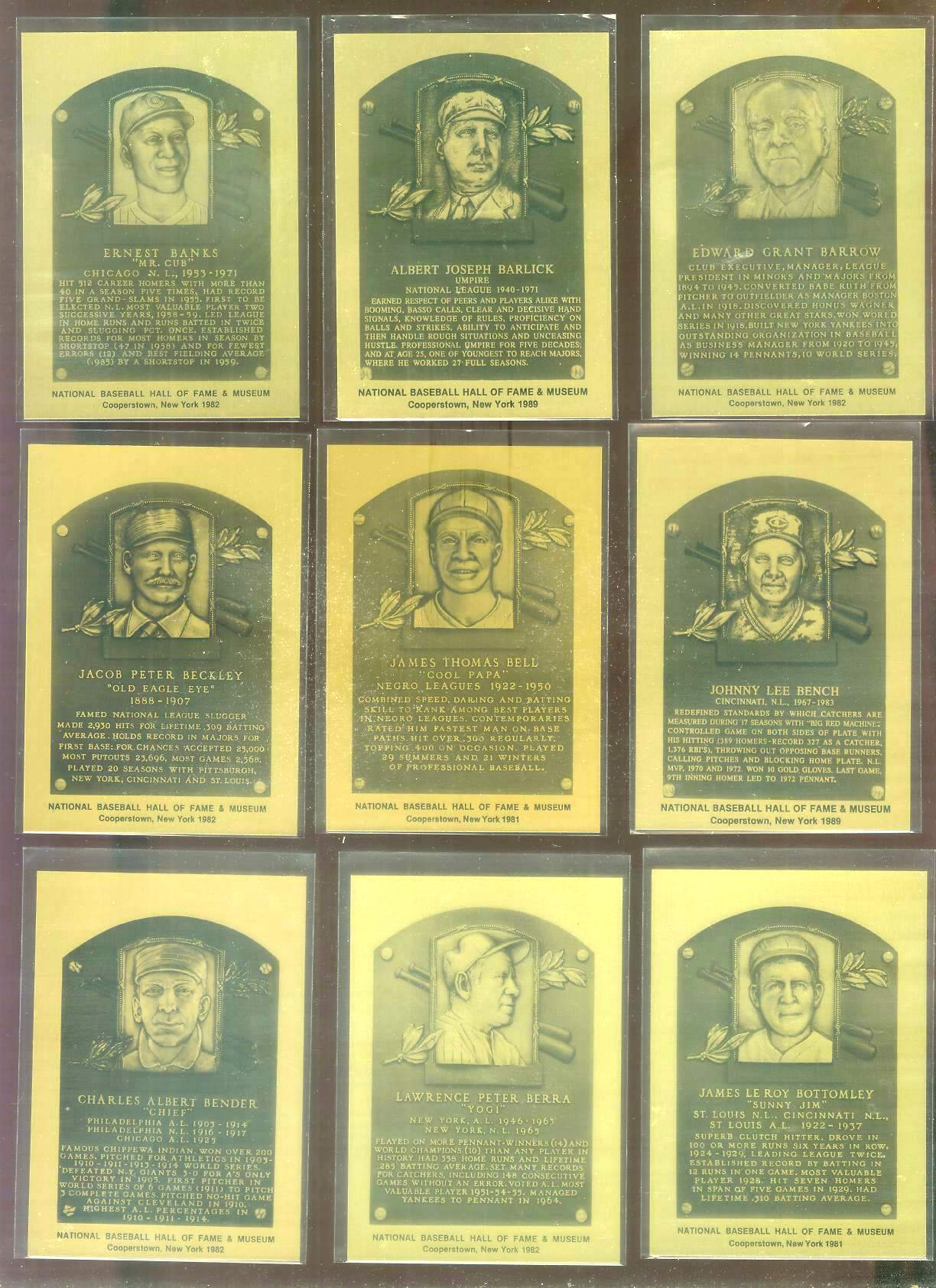1981-89 Hall-of-Fame METAL PLAQUE #116 Chief Bender Baseball cards value