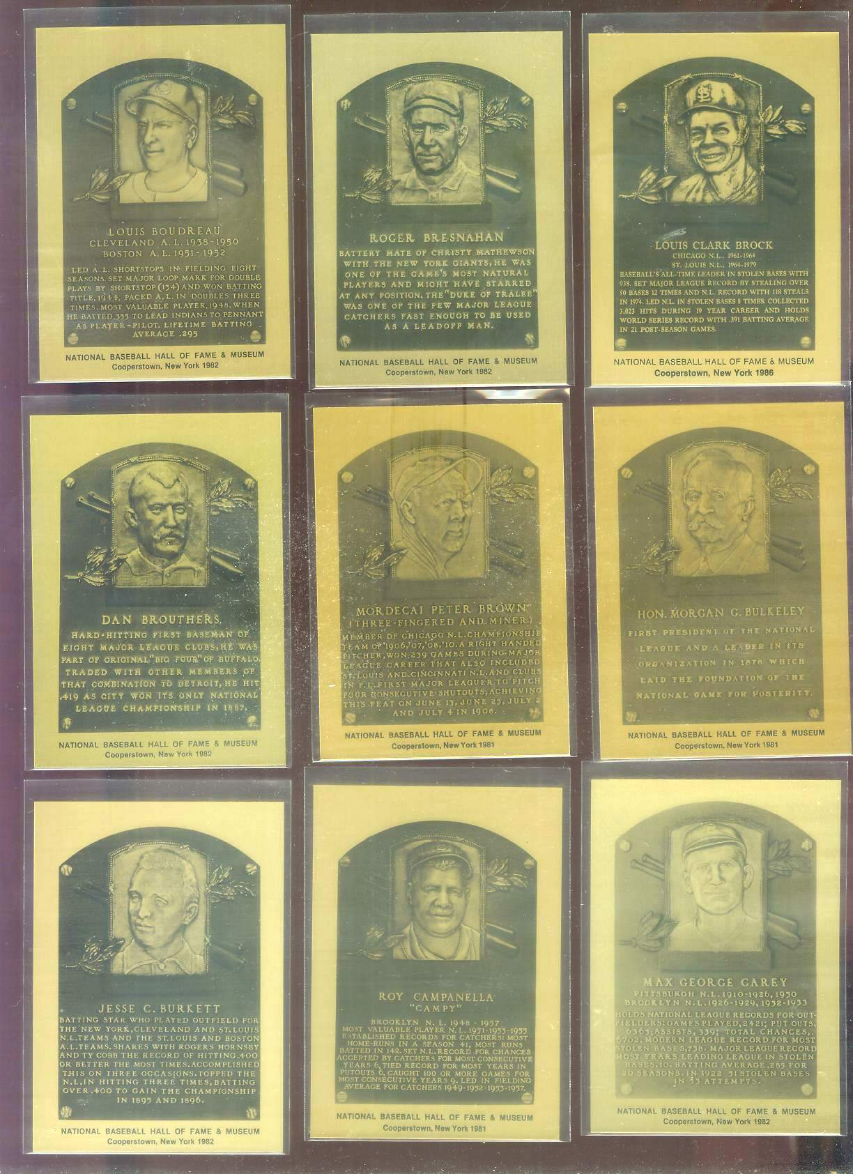 1981-89 Hall-of-Fame METAL PLAQUE #.36 Roy Campanella Baseball cards value
