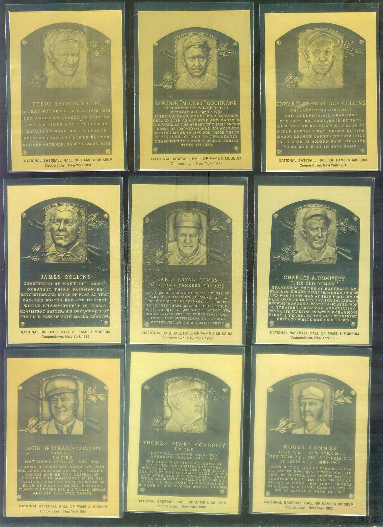 1981-89 Hall-of-Fame METAL PLAQUE #.56 Tom Connolly Baseball cards value