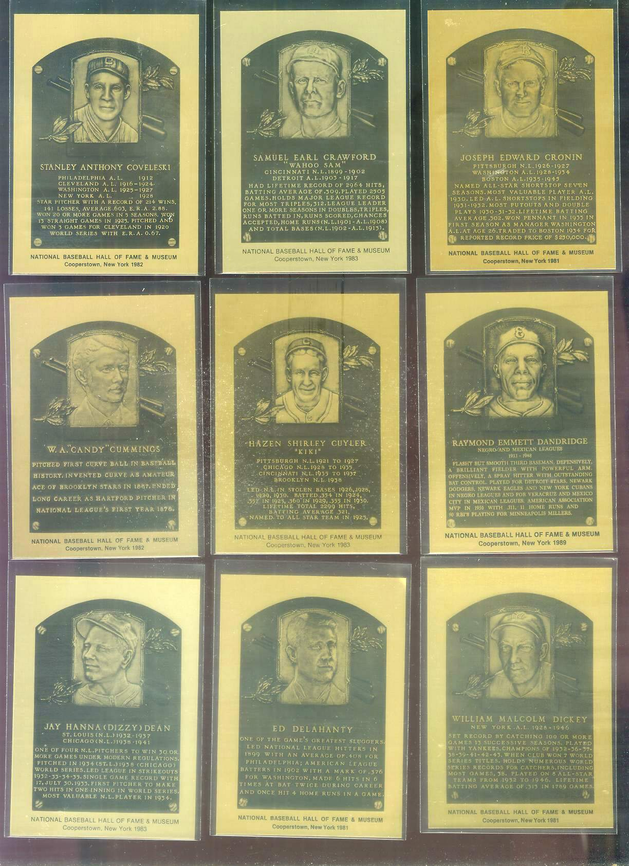 1981-89 Hall-of-Fame METAL PLAQUE #197 Ray Dandridge Baseball cards value