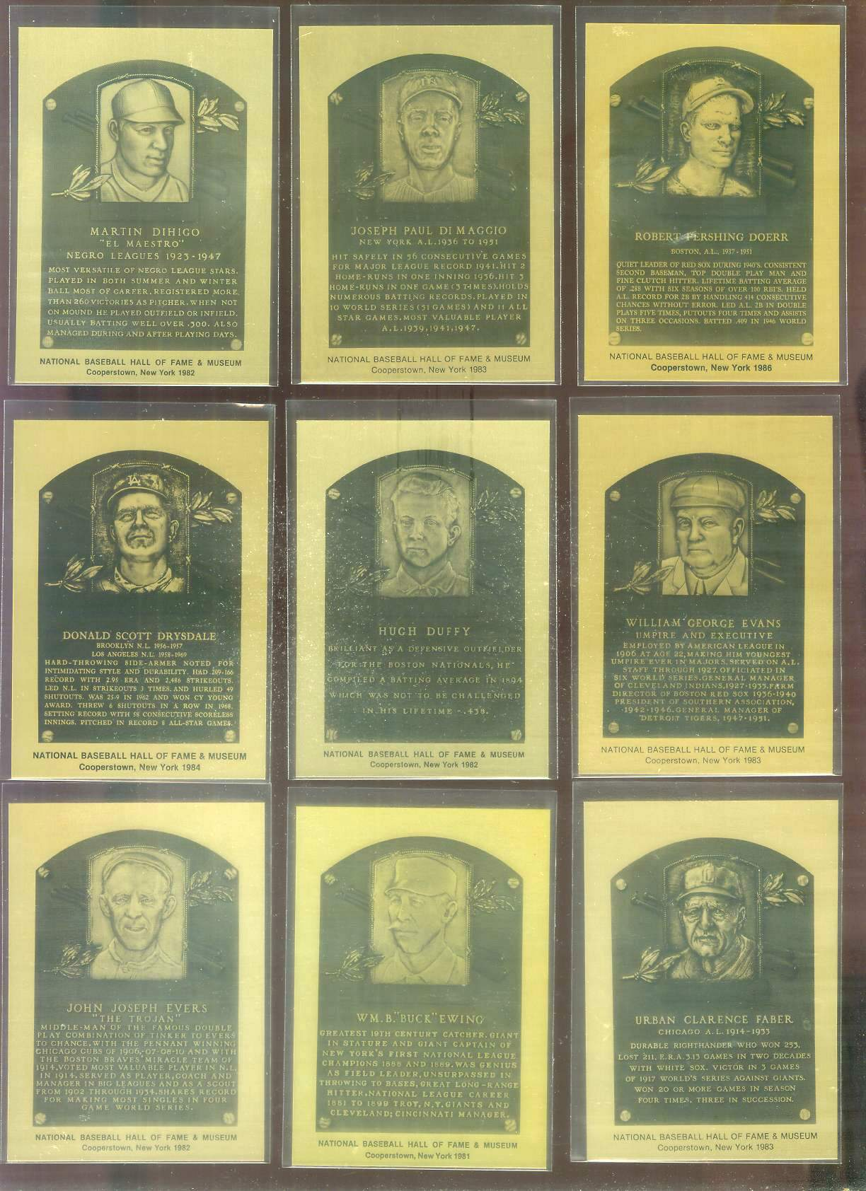 1981-89 Hall-of-Fame METAL PLAQUE #171 Joe Dimaggio Baseball cards value