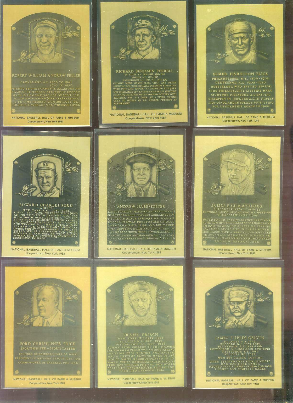 1981-89 Hall-of-Fame METAL PLAQUE #.29 Ford Frick Baseball cards value