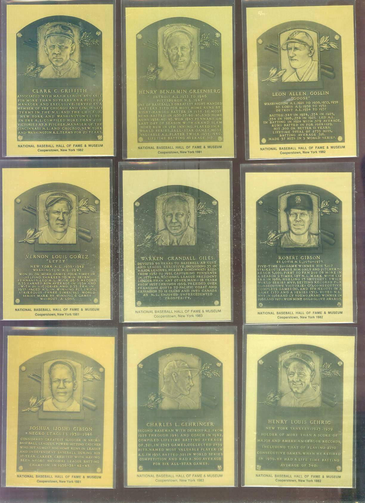 1981-89 Hall-of-Fame METAL PLAQUE #.69 Lou Gehrig Baseball cards value