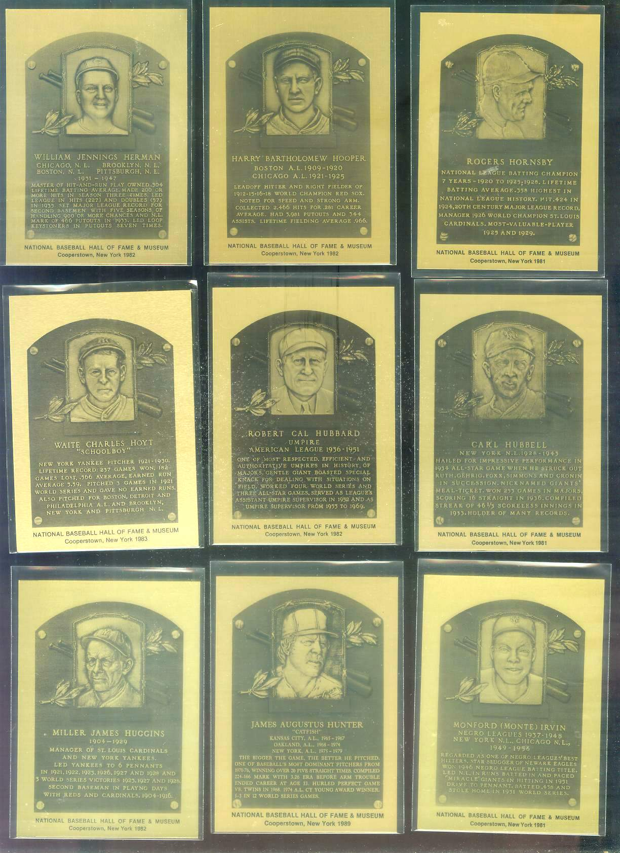 1981-89 Hall-of-Fame METAL PLAQUE #.53 Monte Irvin Baseball cards value