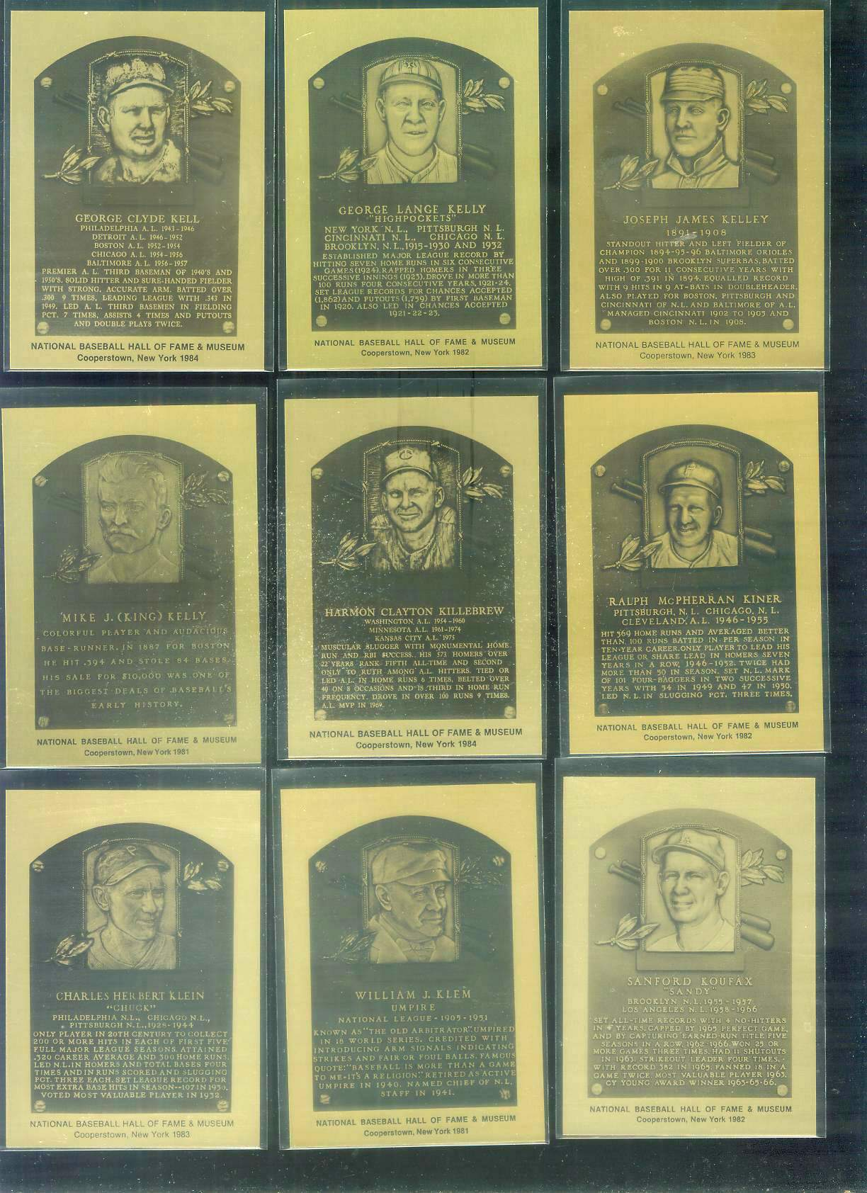 1981-89 Hall-of-Fame METAL PLAQUE #108 Ralph Kiner Baseball cards value