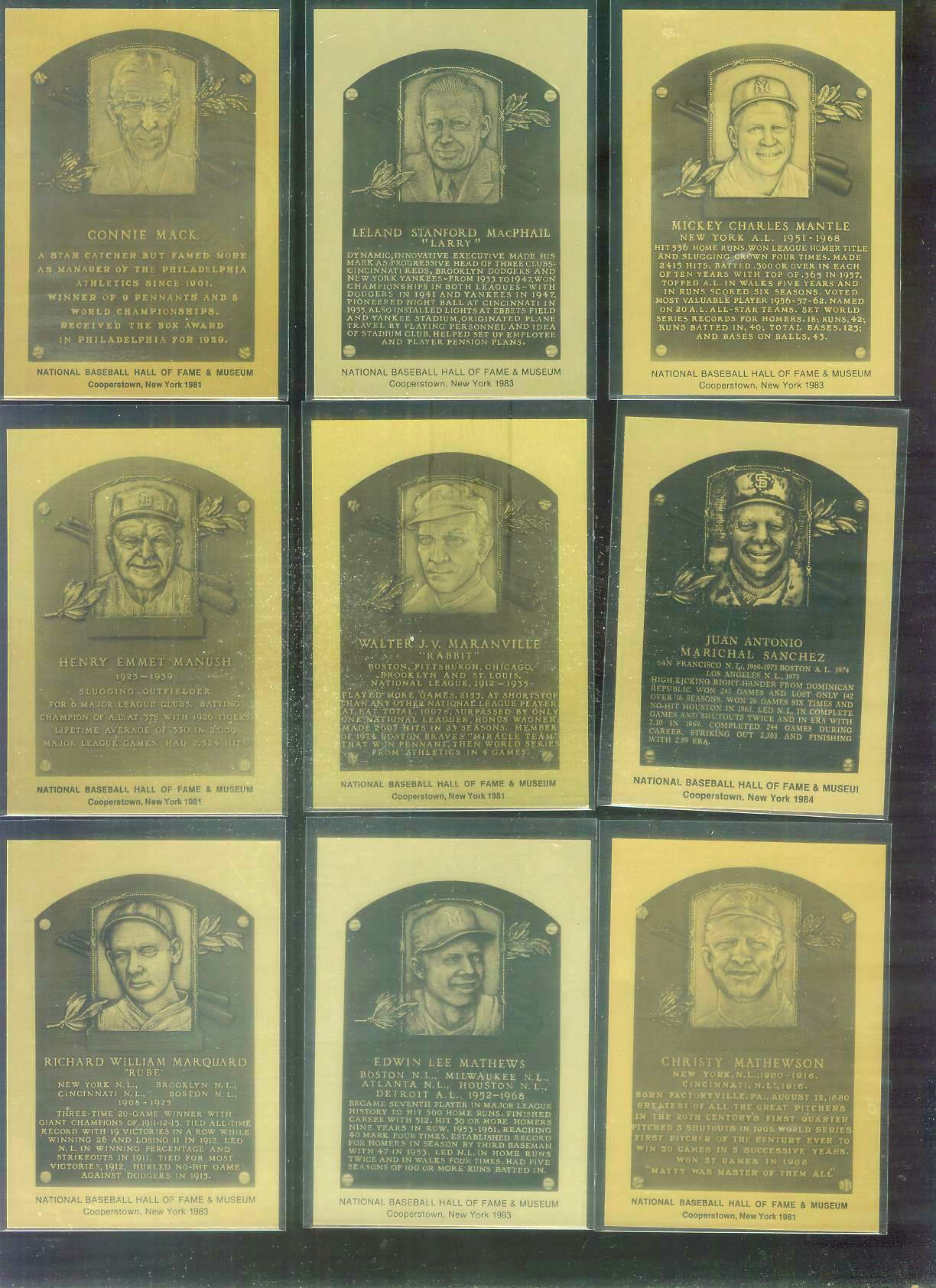 1981-89 Hall-of-Fame METAL PLAQUE #.50 Rabbit Maranville Baseball cards value