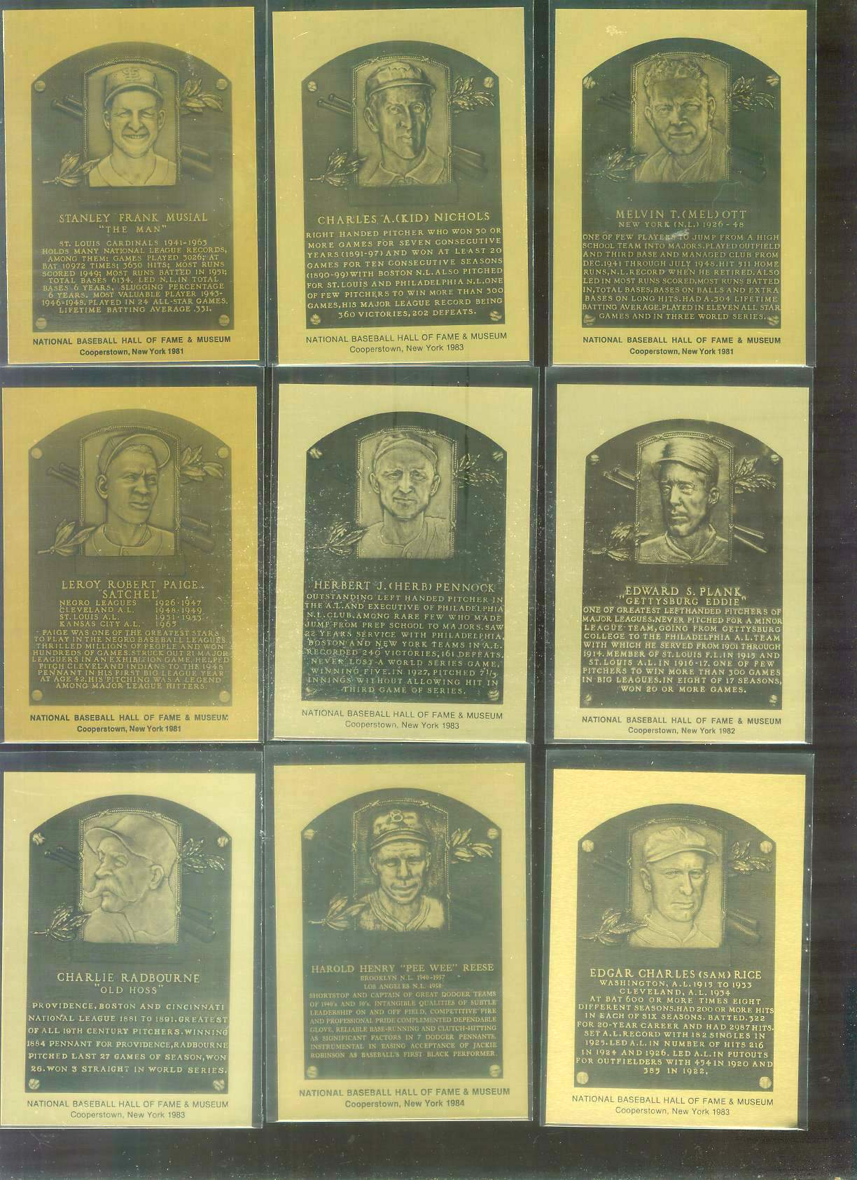 1981-89 Hall-of-Fame METAL PLAQUE #.35 Mel Ott Baseball cards value