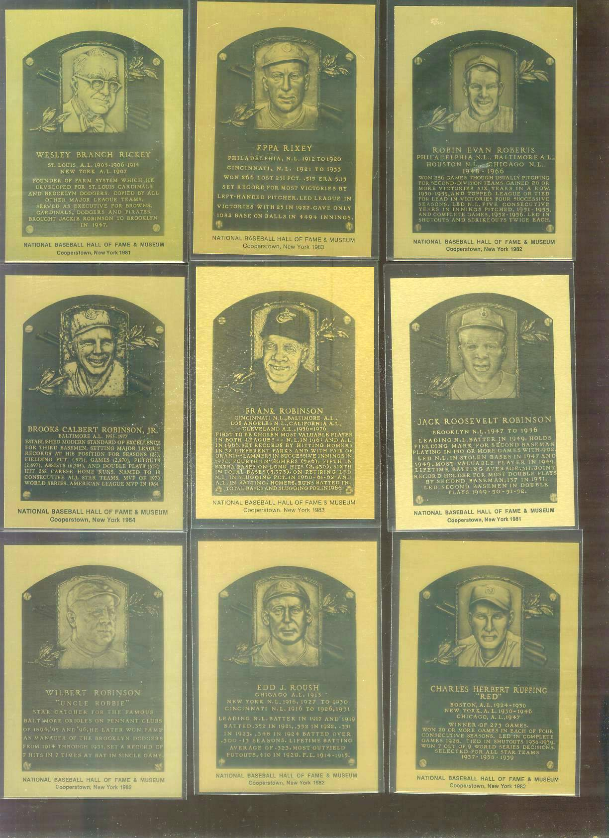 1981-89 Hall-of-Fame METAL PLAQUE #.17 Jackie Robinson Baseball cards value