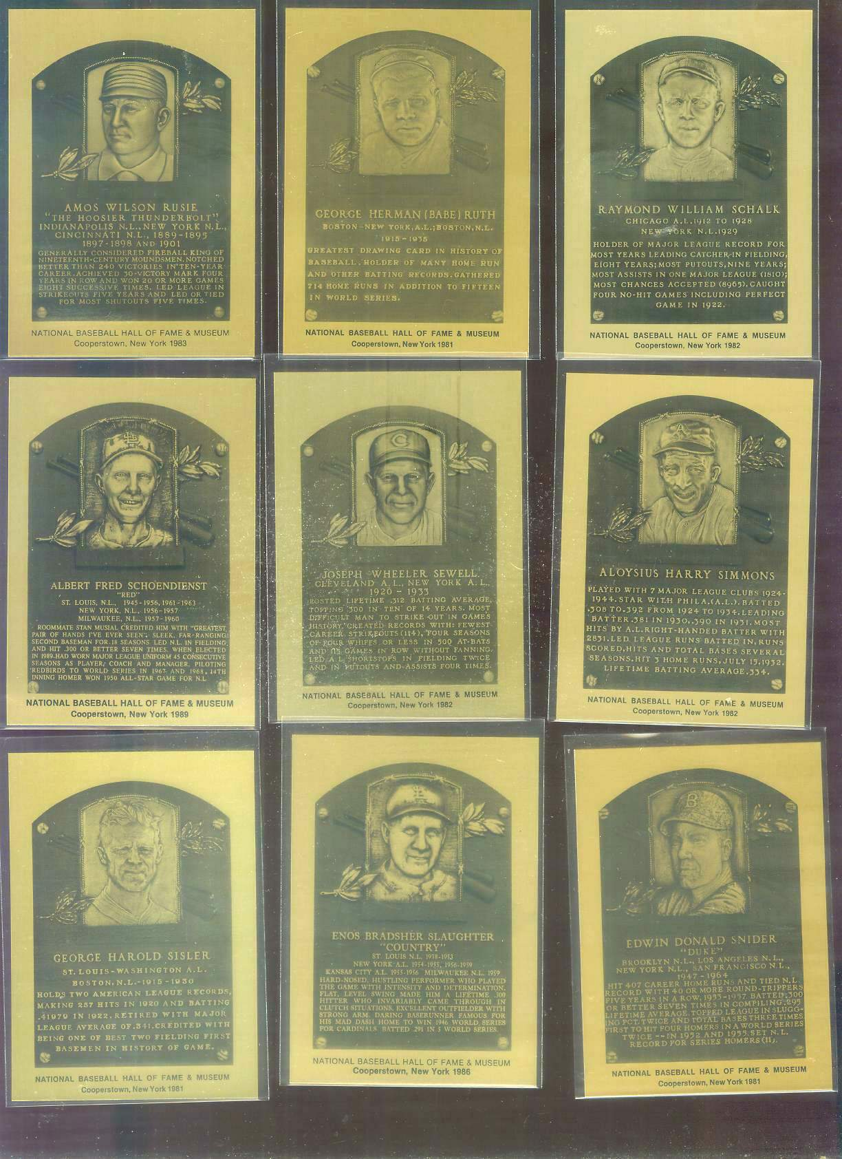 1981-89 Hall-of-Fame METAL PLAQUE #.49 George Sisler Baseball cards value
