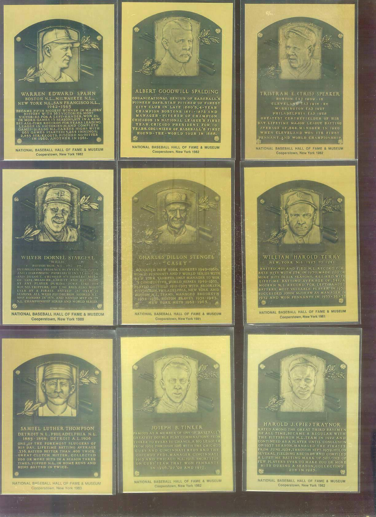 1981-89 Hall-of-Fame METAL PLAQUE #.86 Tris Speaker Baseball cards value