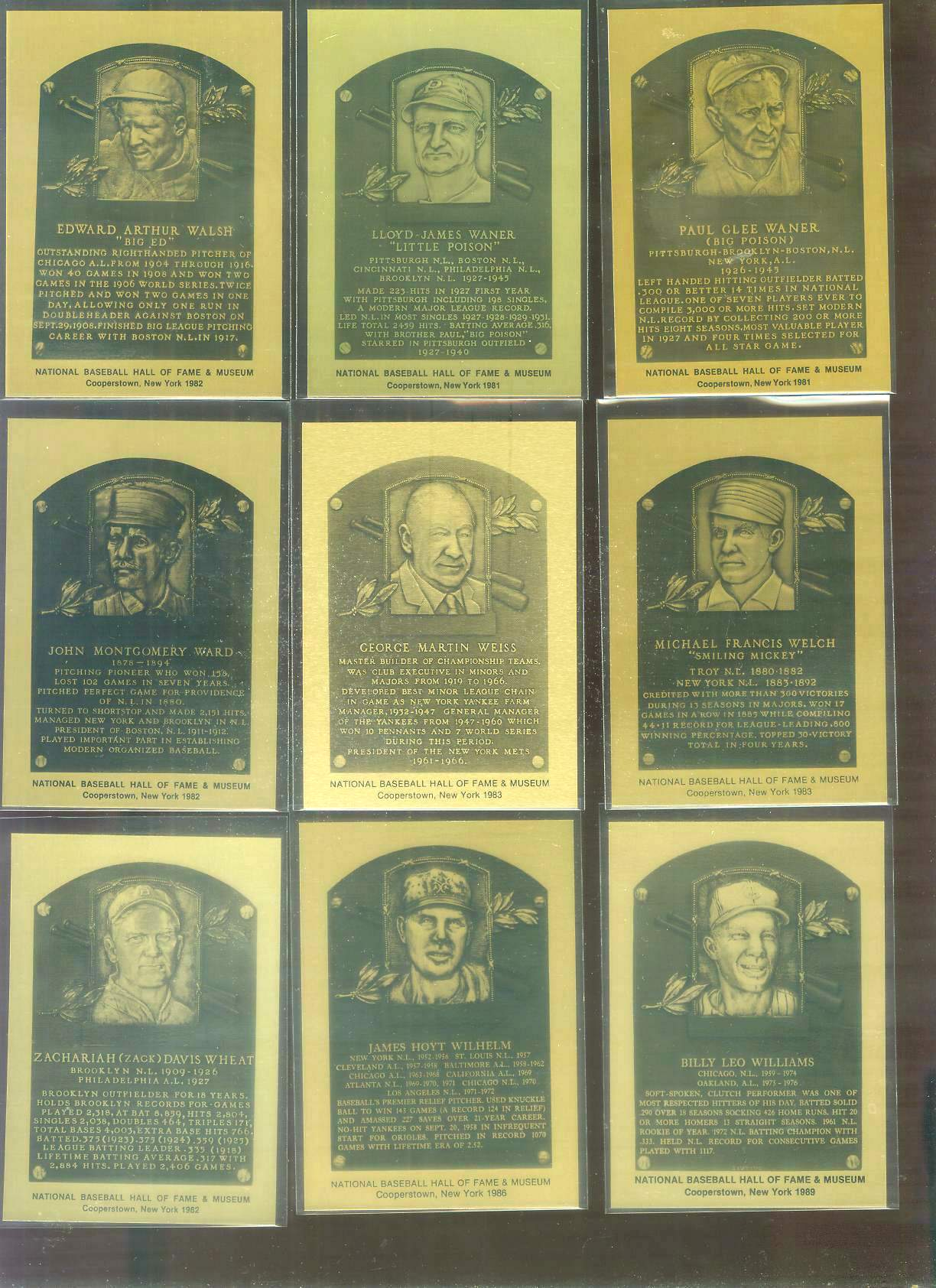 1981-89 Hall-of-Fame METAL PLAQUE #193 Hoyt Wilhelm Baseball cards value