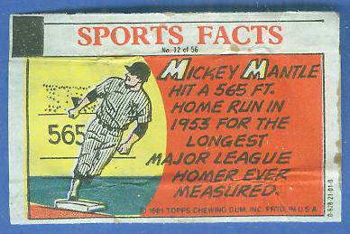 1981 Topps Thirst Break #12 Mickey Mantle '565 ft. Home Run' Baseball cards value