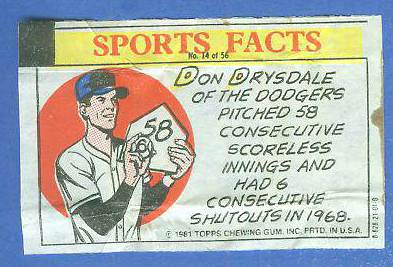 1981 Topps Thirst Break #14 Don Drysdale 'Scoreless Innings' Baseball cards value