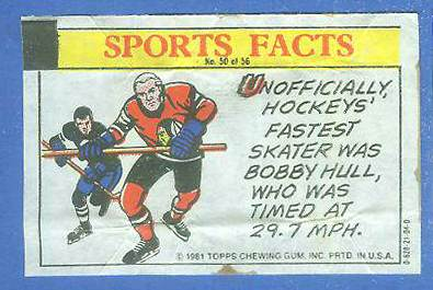 1981 Topps Thirst Break #50 Bobby Hull 'Hockey Fact' Hockey cards value