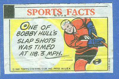 1981 Topps Thirst Break #51 Bobby Hull 'Hockey Fact' Hockey cards value