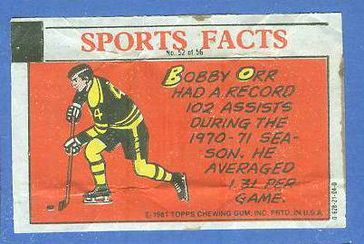 1981 Topps Thirst Break #52 Bobby Orr 'Assist Record' Hockey cards value