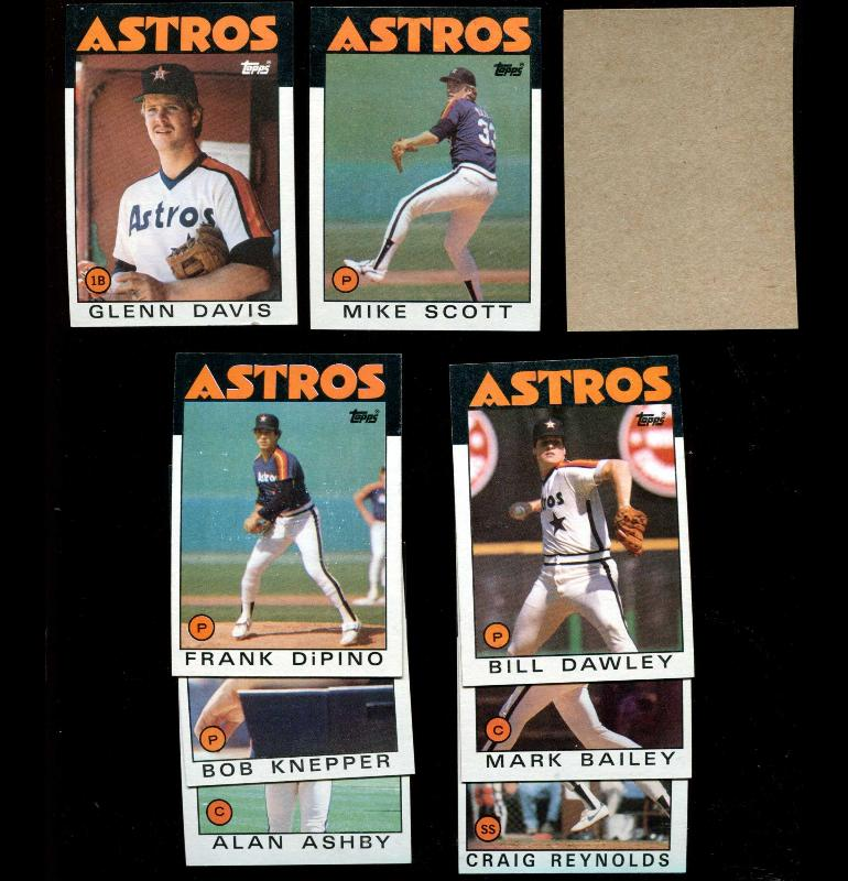 1986 Topps BLANK-BACK PROOF  - Astros Team Lot of (8) Baseball cards value