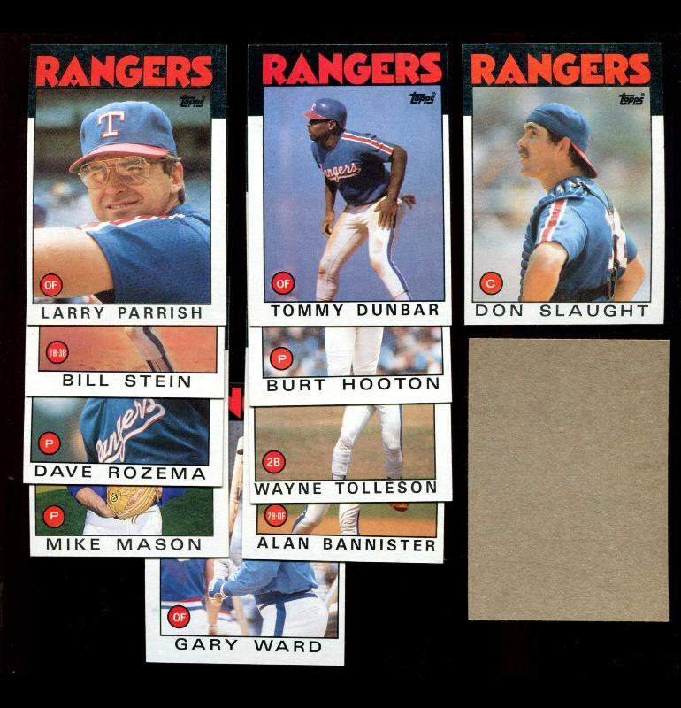 1986 Topps BLANK-BACK PROOF  - Rangers Team Lot of (10) Baseball cards value