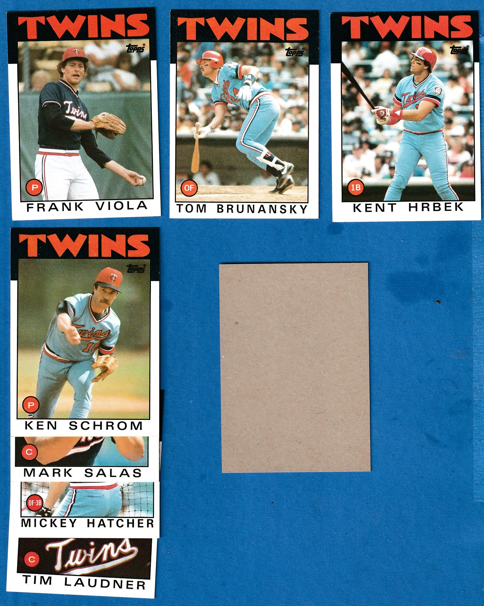 1986 Topps BLANK-BACK PROOF  - Twins Team Lot of (7) Baseball cards value
