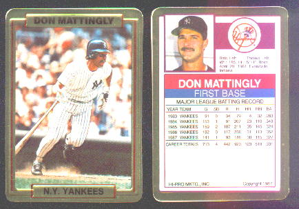 Don Mattingly - 1988 Action Packed TEST/PROMO (Yankees) Baseball cards value