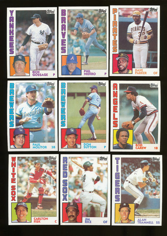 1984 Topps - Huge lot (3,000) cards w/many multiples some HALL-OF-FAMERS ! Baseball cards value