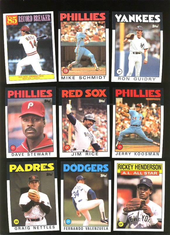 1986 Topps - Huge lot (3,000) cards w/many multiples some HALL-OF-FAMERS ! Baseball cards value