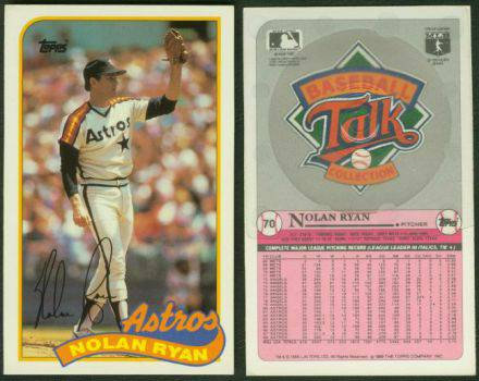 1989 LJN Toys/Topps #70 Nolan Ryan TALKING BASEBALL CARD (Astros) Baseball cards value
