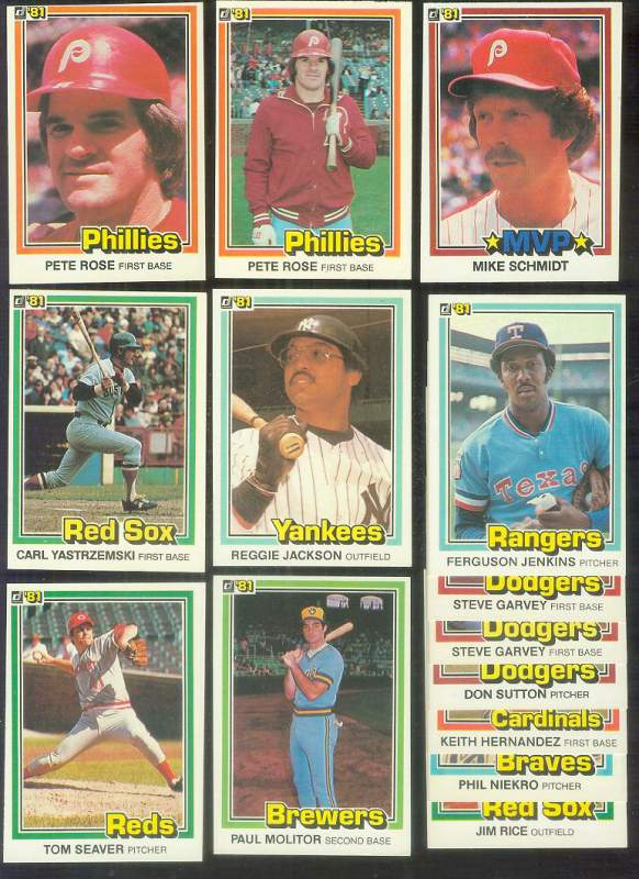 1981 Donruss - Lot of (1,250) assorted with HALL-OF-FAMERS & STARS !!! Baseball cards value