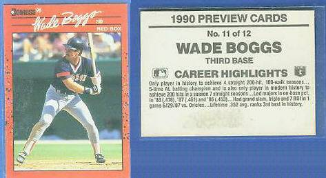 Wade Boggs - 1990 Donruss PREVIEW #11 (Red Sox) Baseball cards value