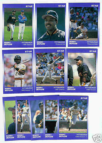 Barry Bonds - 1990 Star Company PURPLE 11-card ERROR SET Baseball cards value