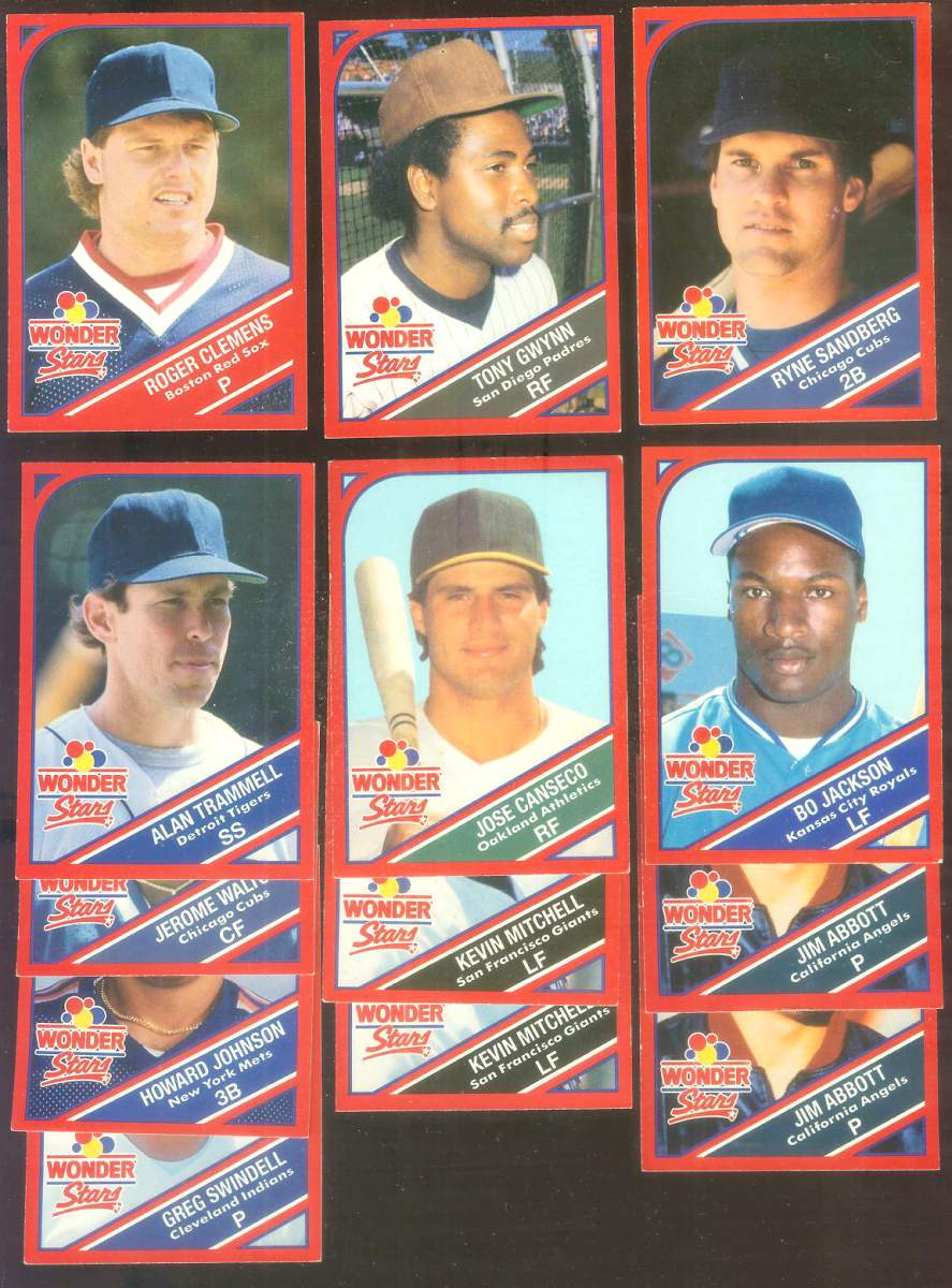 1990 Wonder Bread - Lot of (13) assorted w/STARS ! Baseball cards value
