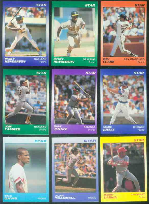 1988 -1990 Star Company BLANK-BACK PROMOS - Lot (9) different Baseball cards value