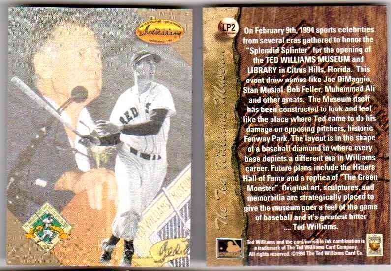 Ted Williams - Lot of (10) 1994 Ted Williams Co. PROMO #LP2 GOLD FOIL Baseball cards value