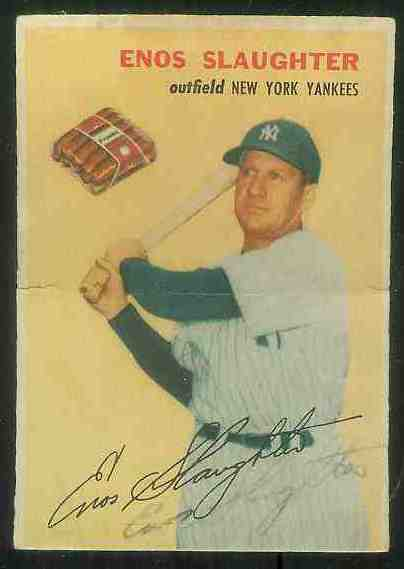 1954 Wilson Franks - Enos Slaughter AUTOGRAPHED (Yankees) Baseball cards value