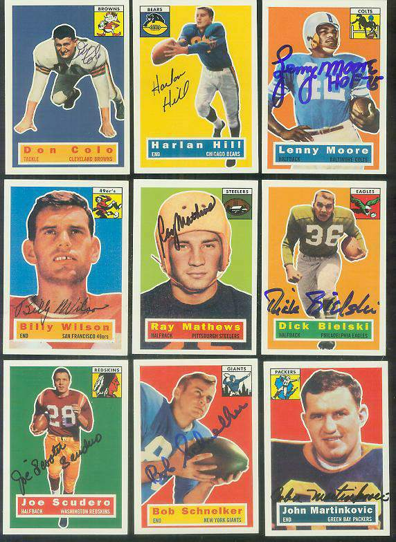 1956 Topps Archives FB # 89 Bob Schnelker (Giants) AUTOGRAPHED Football cards value