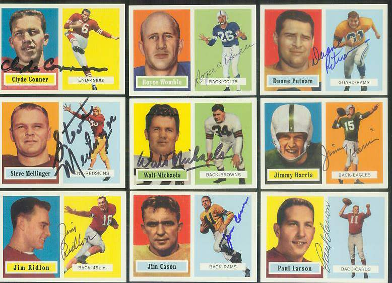 1957 Topps Archives FB # 78 Clyde Conner AUTOGRAPHED Football cards value