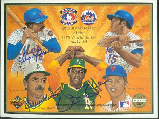 MULTI-SIGNED 1993 '20th Anniv. of 1973 World Series' Commemorative Sheet Baseball cards value